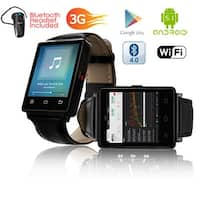Indigi® GSM UNLOCKED! Stylish Android 5.1 Smart Watch Phone GSM 3G+WiFi GPS + Heart Rate + Temperature + Bluetooth bundle
