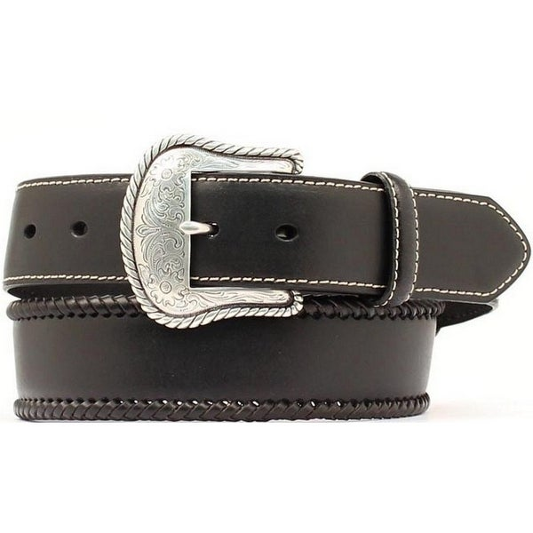 Nocona Western Belt Mens Leather Top Hand Laced Black
