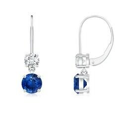 Blue Sapphire Leverback Dangle Earrings with Diamond