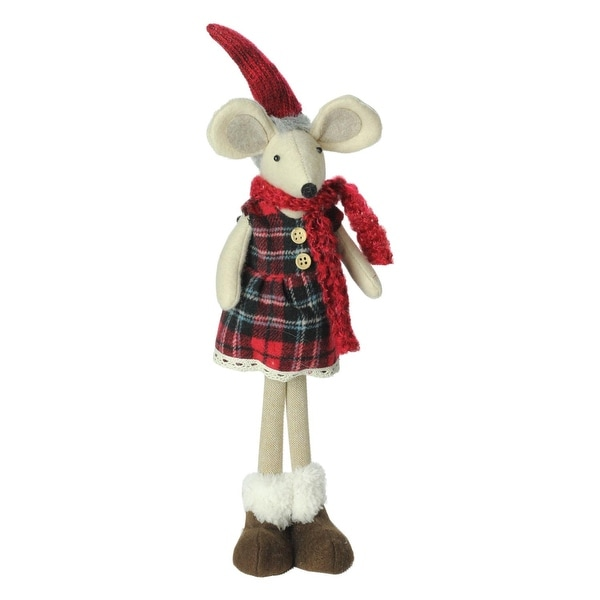"17"" Plush Red Plaid Standing Christmas Girl Mouse Decoration - WHITE"