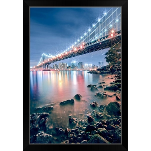 """Manhattan Bridge from the park in Brooklyn, New York City"" Black Framed Print"
