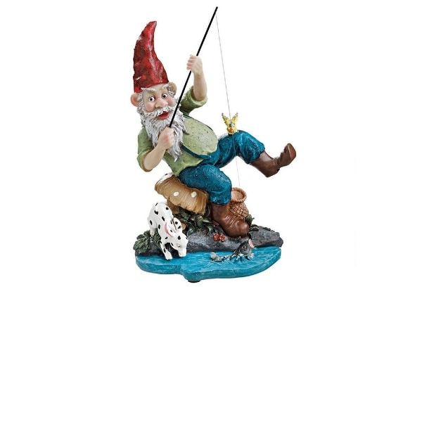 "12"" Garden Elf Fisherman Gnome Outdoor Statue - N/A"