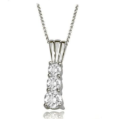 0.75 cttw. 14K White Gold Three-Stone Round Cut Diamond Pendant