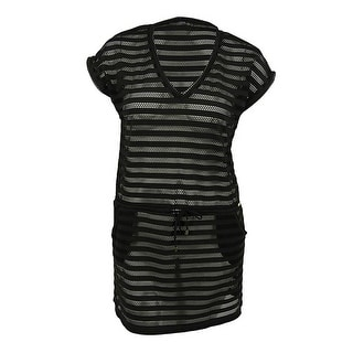 Calvin Klein Women's Mesh-Stripe Pocket Swim Cover