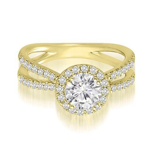 0.85 cttw. 14K Yellow Gold Halo Split-Shank Round Diamond Engagement Ring