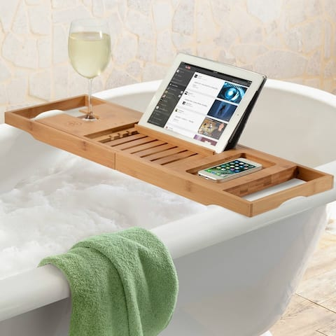 Bambusi Bathtub Caddy Tray with Extending Sides, Reading Stand, Wine Holder and Cellphone Tray