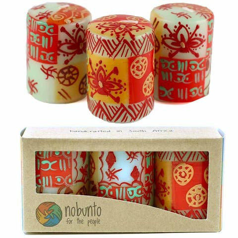 "Hand Painted Votive Candles in ""Owoduni"" Design (box of three)"