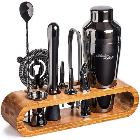 Bartender Kit 10-Piece Bar Tool Set with Stylish Bamboo Stand