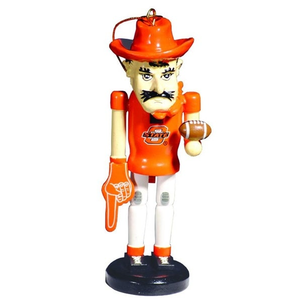"6"" NCAA Oklahoma State Cowboys Mascot Wooden Nutcracker Christmas Ornament"