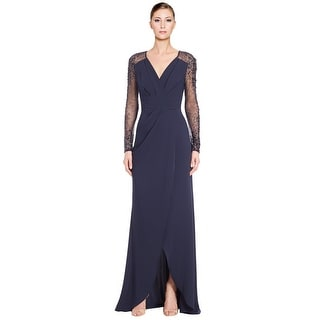 Pamella Roland Crepe Beaded Sleeve Evening Gown Dress