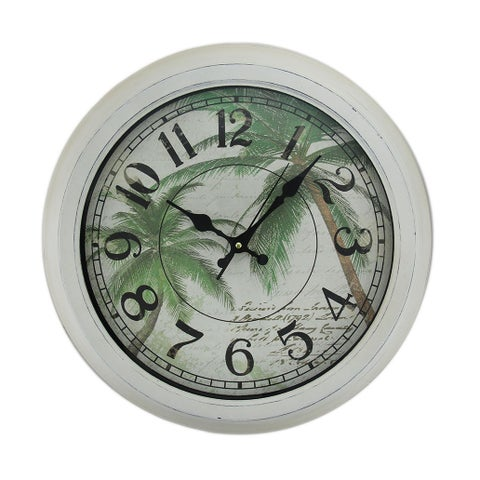 Palm Trees Postcard Print Distressed Round Metal Wall Clock 16 in.