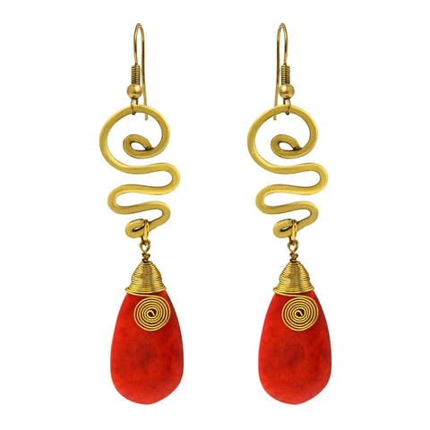 Handmade Graceful Red Synthetic Coral Teardrop with Swirling Brass Dangle Earrings (Thailand)