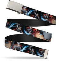 Marvel Avengers Blank Chrome Buckle Thor Action Poses Face Close Up Web Belt