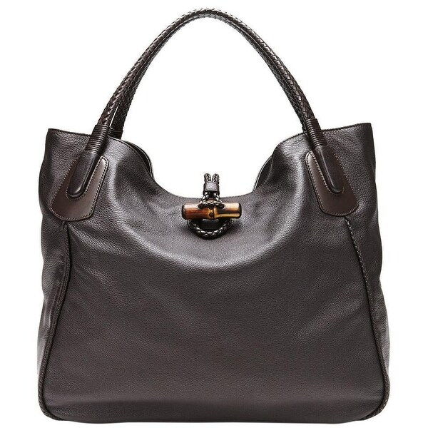 f9ef3318b355 Shop Gucci Dark Brown Soft Deer Leather Large Hip Bamboo Tote Bag ...
