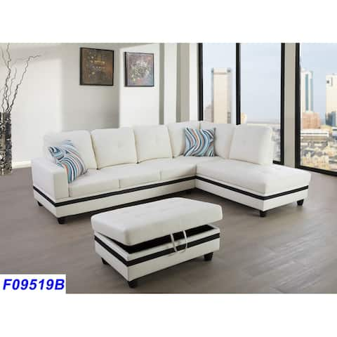 3-Pieces Sectional Sofa Set,Right Facing White(09519B)