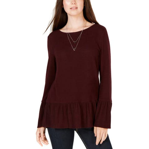 BCX Womens Juniors Pullover Sweater Bell Sleeves Knit