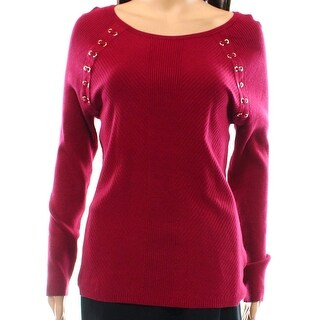 INC International Concepts Lace-up Sweater, Red, XL