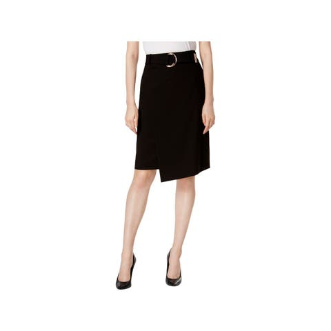 Calvin Klein Womens Petites Pencil Skirt Belted Faux-Wrap
