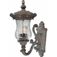 """Volume Lighting V8540 Melrose 3-Light 21"""" Height Outdoor Wall Sconce with Clear Ribbed Glass - amulet bronze - n/a"""