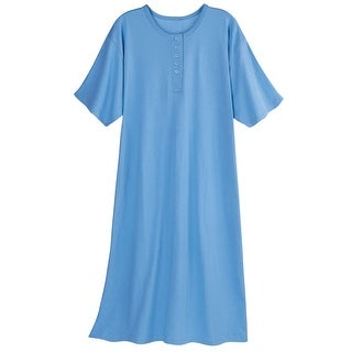 Catalog Classics Women's Long Henley Nightshirt - Pajama Sleep Shirt