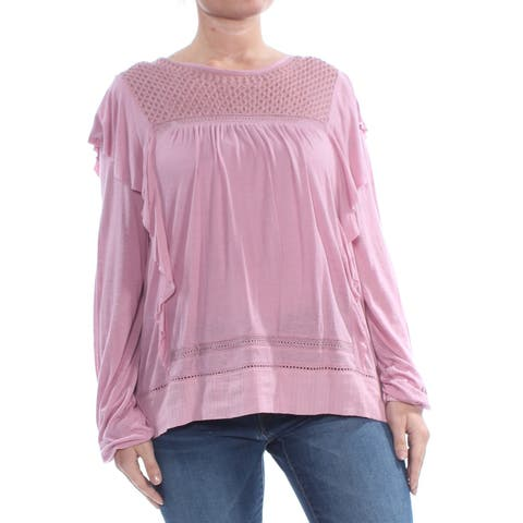 LUCKY BRAND Womens Pink Ruffled Embroidered Pleated Crochet Inset Long Sleeve Crew Neck Peasant Top Size: L