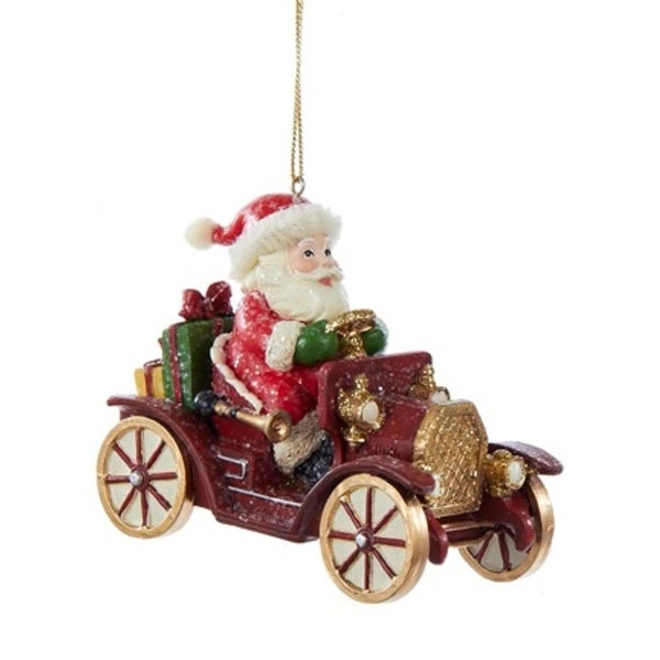 "3.25"" Red, White and Green Vintage Santa and Antique Car Decorative Christmas Ornament"