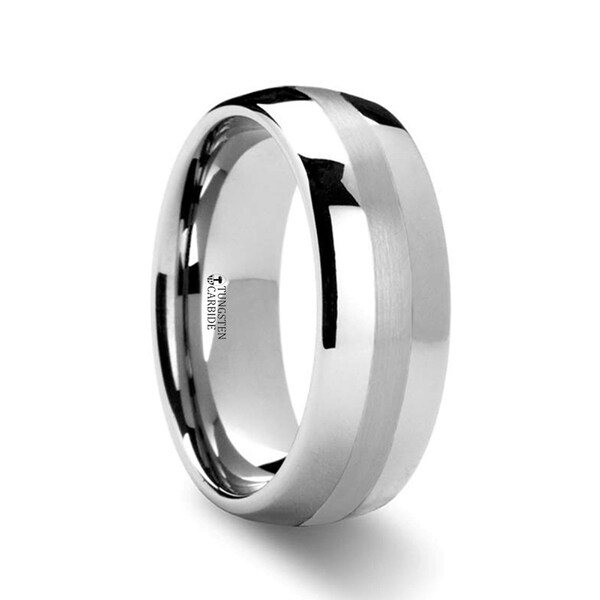THORSTEN - PONTUS Platinum Inlaid Domed Tungsten Wedding Ring - 6mm