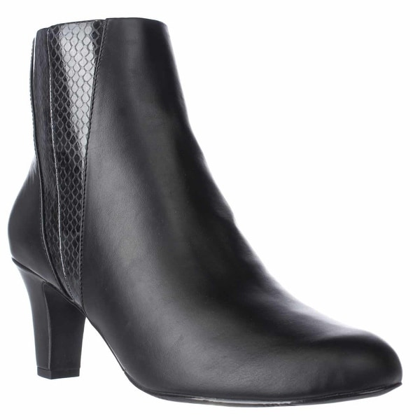 Easy Street Endear Dress Ankle Booties, Black/Snake - 9 us