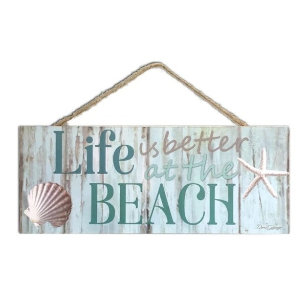"Blue and Cream White Shell Printed Rectangular Wall Sign with Rope Hanger 4"" x 10"" - N/A"