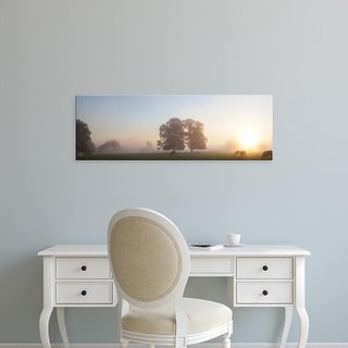 Easy Art Prints Panoramic Images's 'Cattle grazing in field at misty sunrise, USK Valley, South Wales' Canvas Art