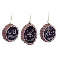 "Pack of 12 ""Noel, Joy, Peace"" Chalkboard Tree Stump Christmas Ornaments 3.5""-4"" - black"