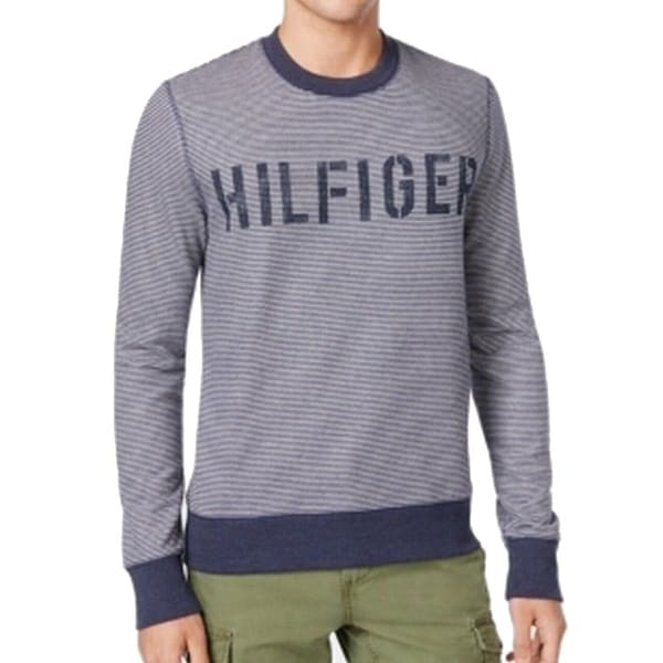 3792b2014 Shop Tommy Hilfiger NEW Blue Heather Mens Size XL Crewneck Striped Sweater  - Free Shipping Today - Overstock - 19517222