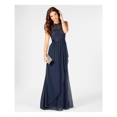 ADRIANNA PAPELL Navy Sleeveless Full-Length Dress 18