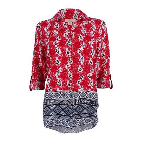 Charter Club Women's Printed Tab-Sleeve Linen Top - New Red Amore Combo - XS