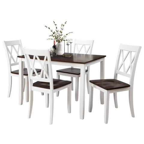 4-Person Solid Wood Dining Table Set with X-back chair design