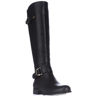 naturalizer Jersey Knee High Riding Boots - Black Leather