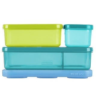 Rubbermaid 4-Piece Snap and Stack Lunch Blox Kit with Ice, 8.25x7x2.5 Inches