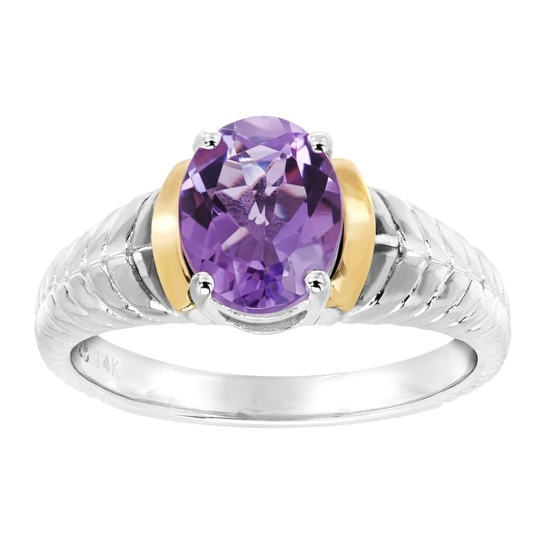 1 5/8 ct Natural Amethyst Braid Ring in Sterling Silver & 14K Gold - Purple