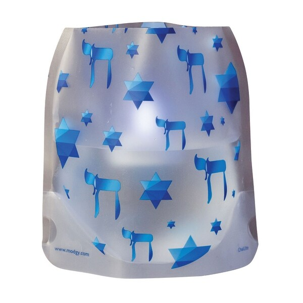 Modgy Holiday Expandable Luminary Lanterns - 4 Pack with Floating LED Candles - Hanukkah - 6.5 in. x 6.5 in. x 6 in.