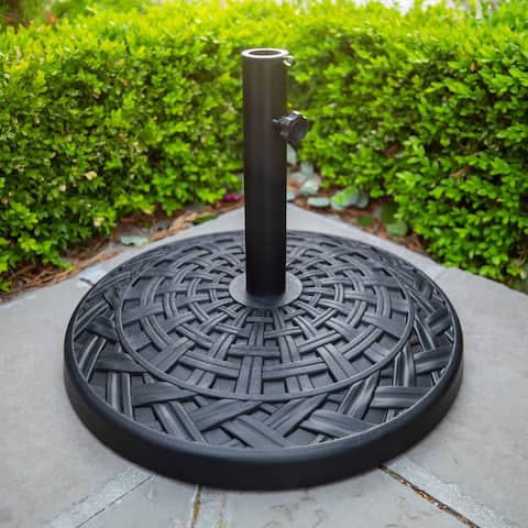Outdoor Patio Black Round Cross Weave Umbrella Base