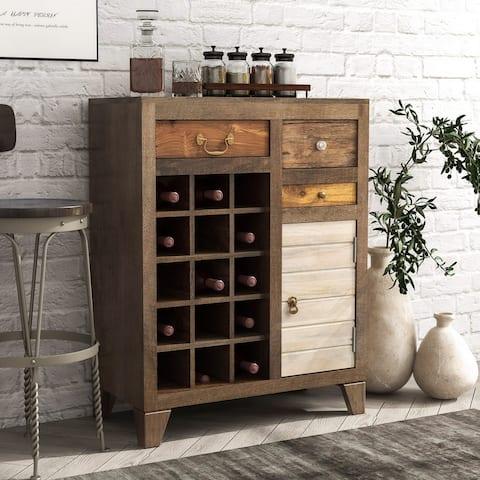 Furniture of America Rudd Solid Wood Wine Bar Cabinet