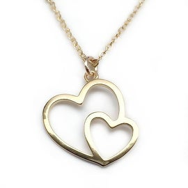 Julieta Jewelry Double Heart Outline Charm Necklace