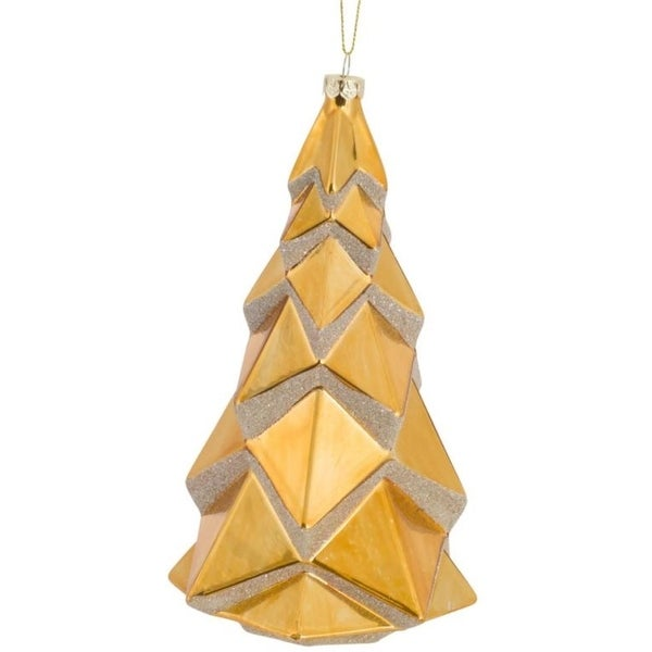 Pack of 6 Decorative Glass Geometric Gold Tree Ornament - silver