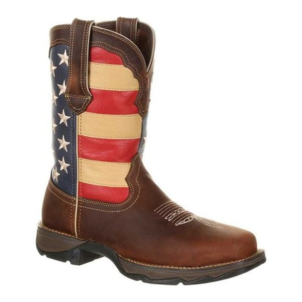 """Durango Boot Women's DRD0234 Lady Rebel 10"""" Steel Toe Flag Work Boot Brown/Union Flag Full Grain Leather/Synthetic"""