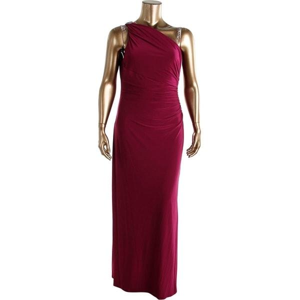 Lauren Ralph Womens Evening Dress Embellished Ruched