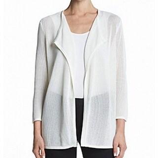Kasper NEW White Women's Size Large L Mesh Knit Open Draped Cardigan