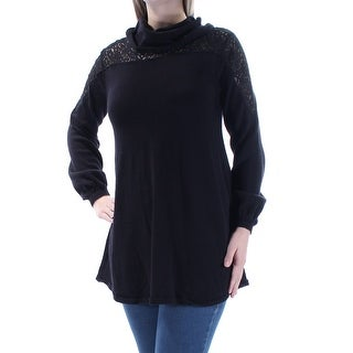 STYLE & COMPANY $40 Womens New 1552 Black Lace 3/4 Sleeve Cowl Neck Top L B+B