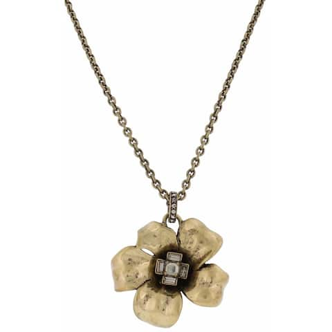 Marc by Marc Jacobs Womens Pendant Necklace Rhinestone Flower