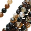Brown Agate Gemstone Mix 4mm Round Beads (14.5 Inch Strand) - Thumbnail 0