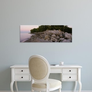 Easy Art Prints Panoramic Images's 'Lake in the forest, Lake Erie, Ohio, USA' Premium Canvas Art